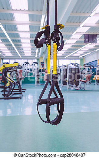 Fitness straps ready to use in fitness center - csp28048407