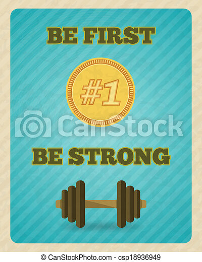 Fitness strength exercise motivation poster - csp18936949