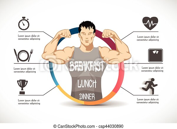 Fitness - strong man - gym concept - healthy diet - csp44030890