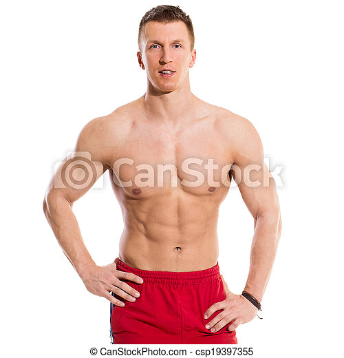 Fitness. Strong man with beautiful, sexy body - csp19397355