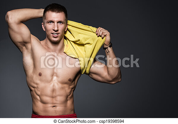 Fitness. Strong man with beautiful, sexy body - csp19398594