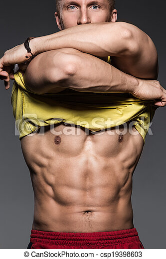 Fitness. Strong man with beautiful, sexy body - csp19398603