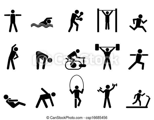 fitness, svart, sätta, folk, ikonen - csp16685456