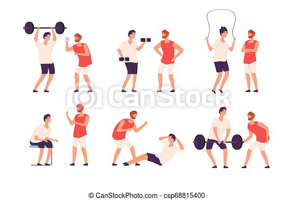 Fitness trainer. Male personal coach helps bodybuilder guy training exercising gym isolated vector set - csp68815400