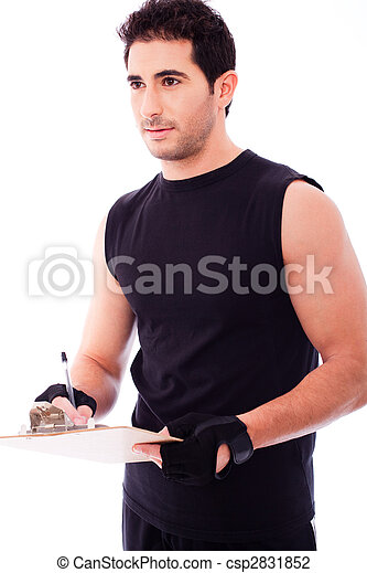 Fitness Trainer marking in a clip board - csp2831852