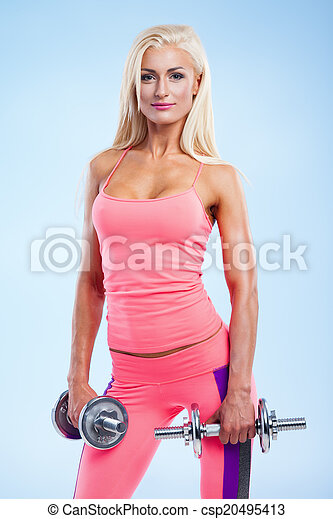 Fitness with dumbbells - csp20495413