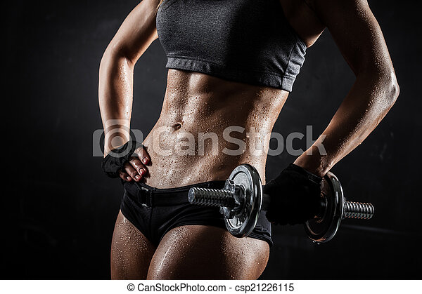 Fitness with dumbbells - csp21226115