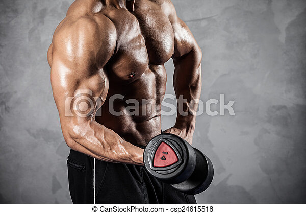 Fitness with dumbbells - csp24615518