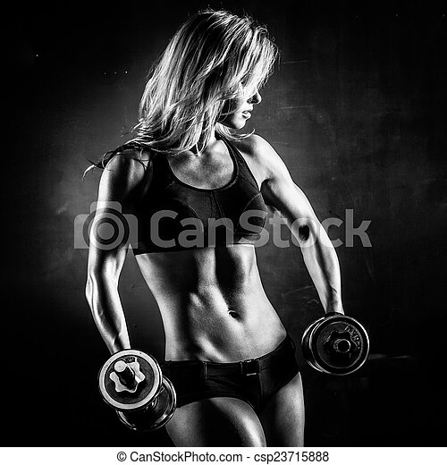 Fitness with dumbbells - csp23715888
