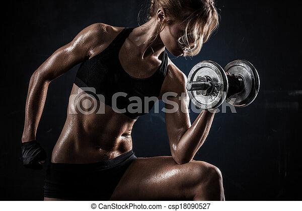 Fitness with dumbbells - csp18090527