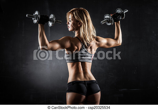 Fitness with dumbbells - csp20325534