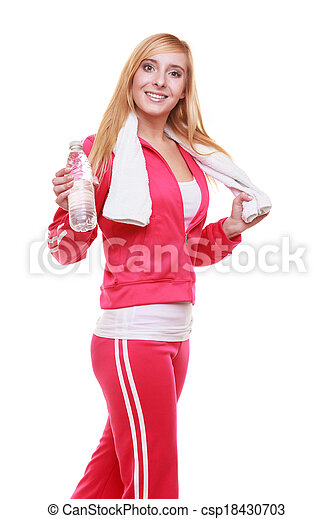 Fitness woman sport girl with towel and water bottle isolated - csp18430703