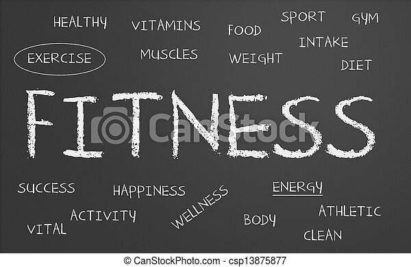 fitness word cloud - csp13875877