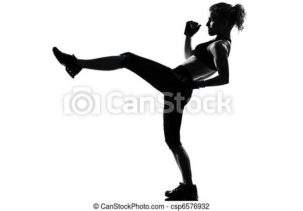fitness, workout, frau, haltung - csp6576932