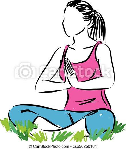 fitness yoga woman meditation vector illustration vector search rh canstockphoto com