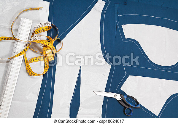 fitter tools and paper model of clothes - csp18624017