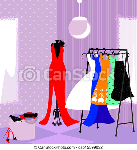 Fitting Room In The Abstract Store Dressing With Vectors