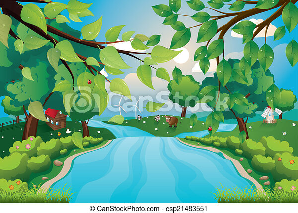 fiume, colline - csp21483551