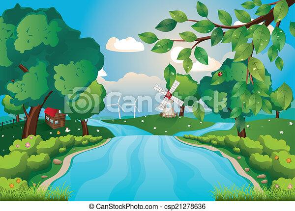fiume, colline - csp21278636