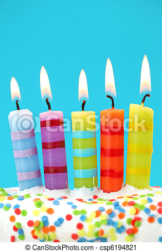 Five birthday candles on blue background - csp6194821