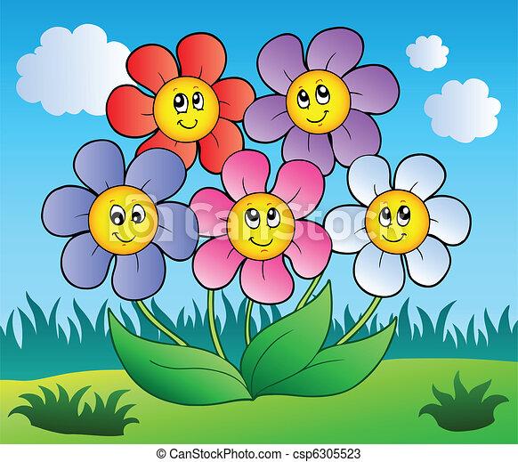 Five cartoon flowers on meadow - csp6305523