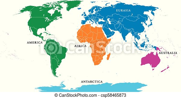 Five continents, political world map, with borders