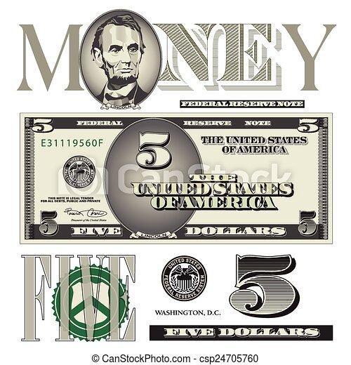 five dollar bill elements - csp24705760