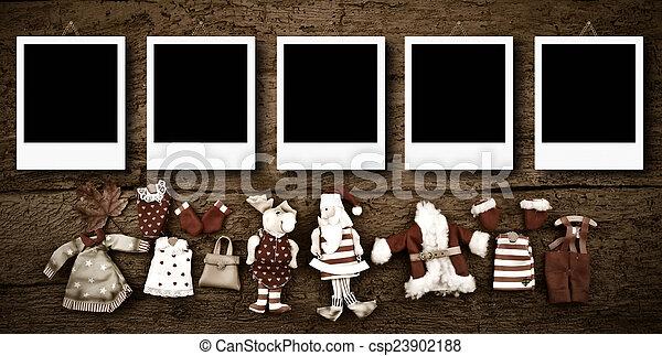 Five empty Christmas photo frames card - csp23902188
