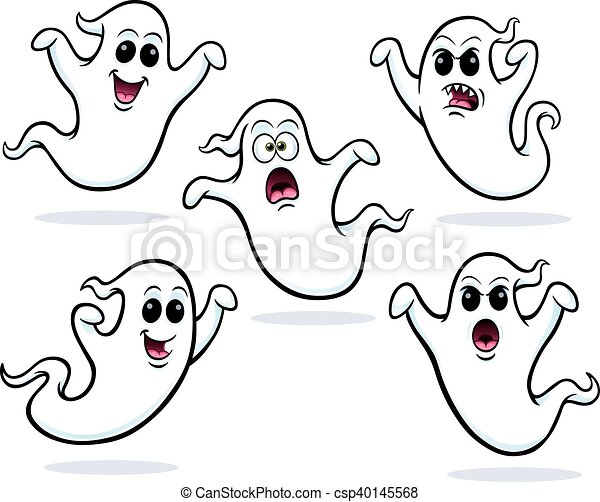 Five Flying Ghosts Cartoon Of Five Flying Ghost Characters With