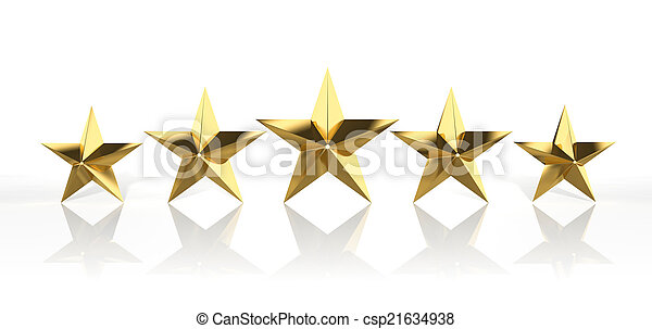 Five golden stars isolated on white background  - csp21634938