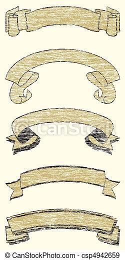 Five Grunge Ribbons - csp4942659