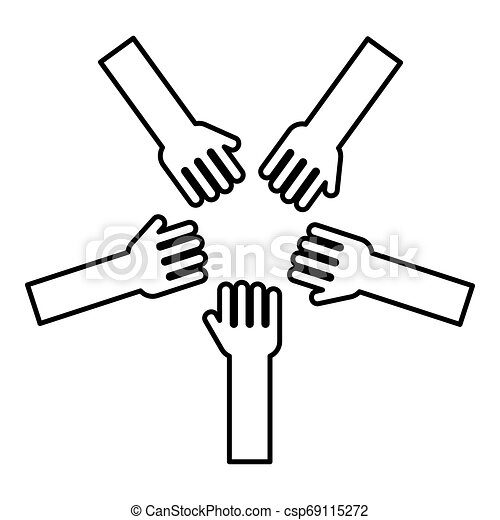 Five hands Group arms Many hands connecting Open palms People putting their hands together Stack hands concept unity icon outline black color vector illustration flat style image - csp69115272
