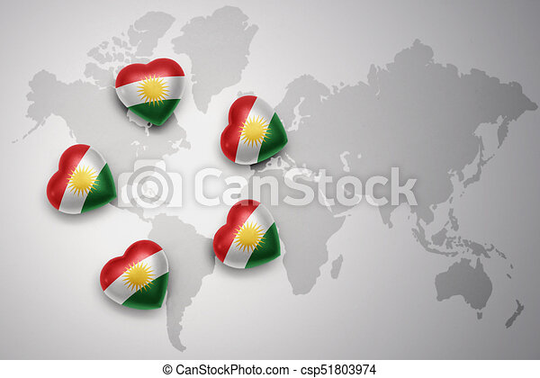 Five hearts with national flag of kurdistan on a world map five hearts with national flag of kurdistan on a world map background stock illustration gumiabroncs Choice Image