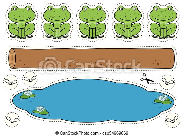 Five little speckled frogs game. Cartoon frogs, log, pool ...