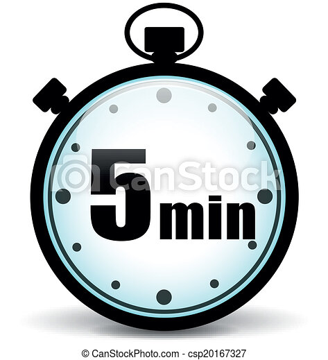 five minutes stopwatch vector illustration of five minutes