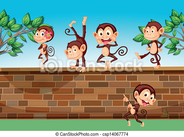 Five monkeys playing at the fence - csp14067774