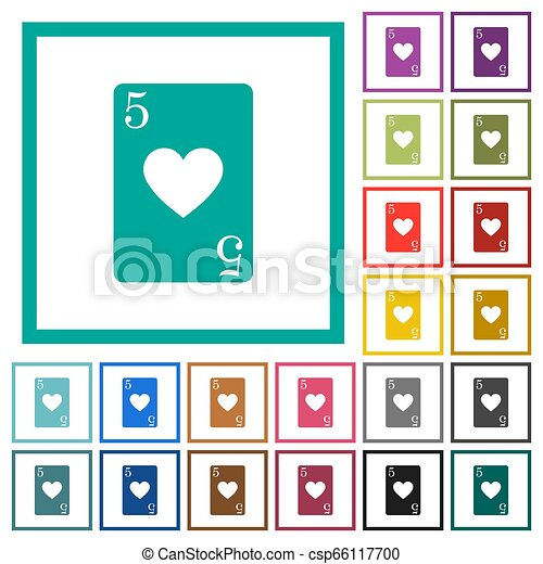 Five of hearts card flat color icons with quadrant frames - csp66117700