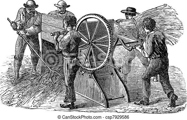 Five people using threshing machine also known as  thrashing machine vintage engraving - csp7929586