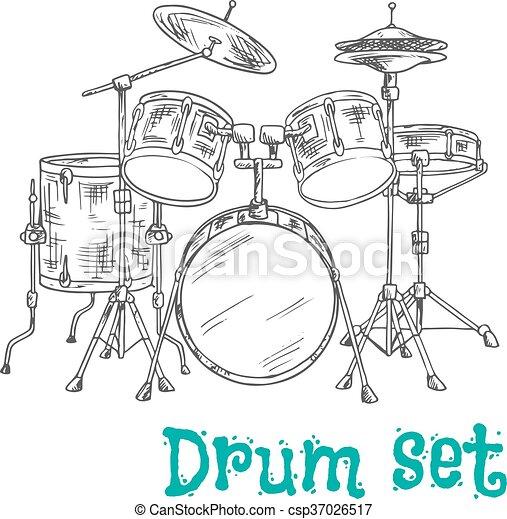 Five Piece Drum Kit Sketch Icon Sketched Five Piece Drum Set Symbol