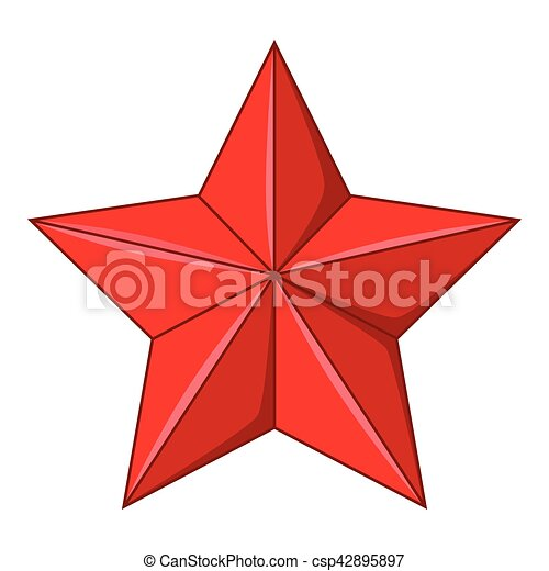 Five-pointed red star icon, cartoon style - csp42895897