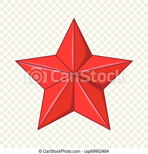 Five-pointed red star icon, cartoon style - csp69952484