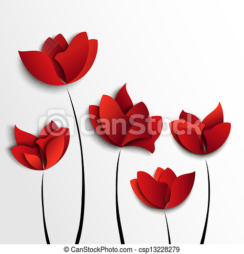 Five red paper flowers on white background five red paper flowers on white background mightylinksfo