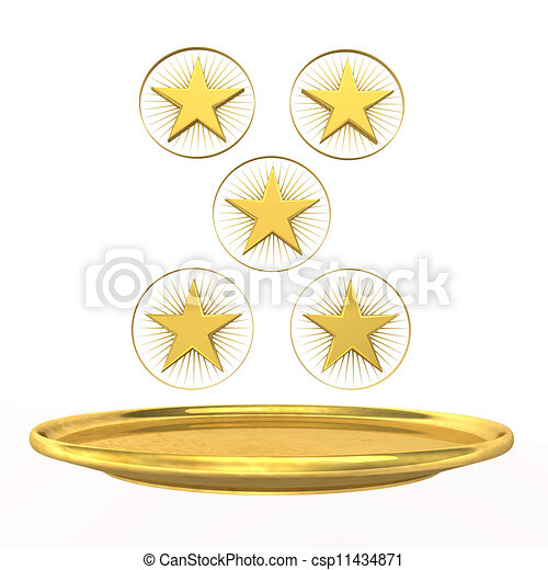 Five Star Chef Symbol For Five Star Chef Golden Stars And Plate On