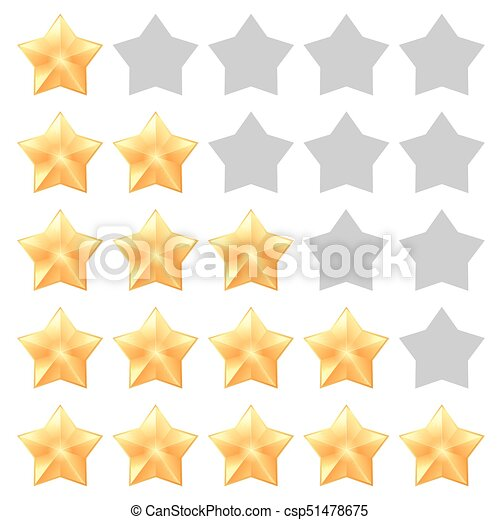 Five Star Rating Different Ranks From One To Five Stars Golden