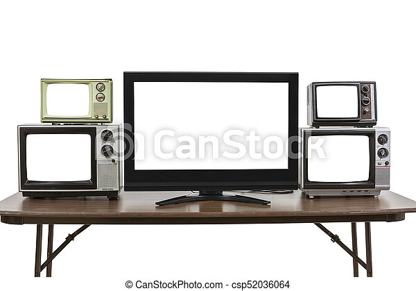 Five Televisions on Table Isolated on White - csp52036064
