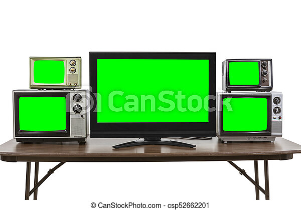 Five Televisions on Table Isolated on White with Chroma Green Screen Inserts - csp52662201