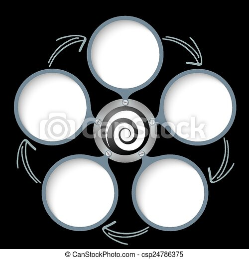 five text boxes with arrows and white spiral - csp24786375