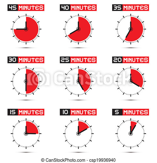Five to Forty Five Minutes Stop Watch Illustration - csp19936940