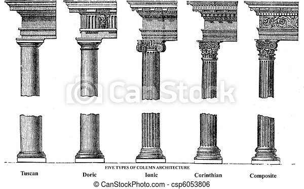 Five types of old column architecture old engraving - csp6053806