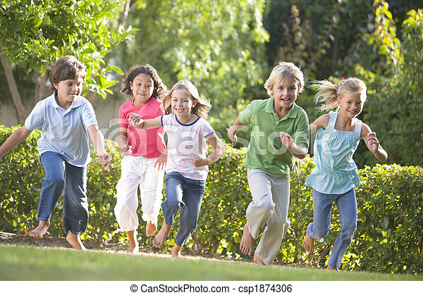 Five young friends running outdoors smiling - csp1874306